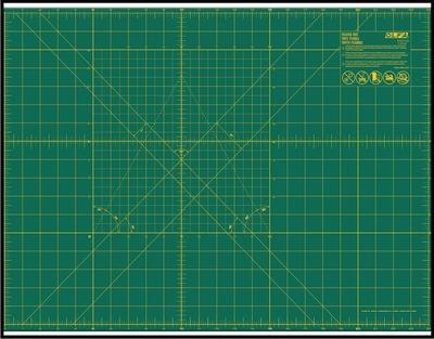řezací podložka A3, obsahuje oboustanný potisk s řezací mřížkou - centimetry, palce, úhly