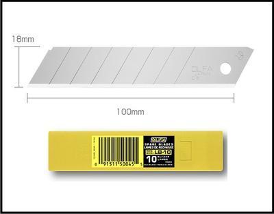 Segmentová standardní náhradní čepel pro řezače, šířka 18mm, tl.. 0,65 mm, balení 10 ks