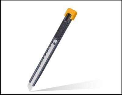 Celokovový řezač s plochou pojistkou k posunu čepele a plastovou sponou, čepel 9 mm